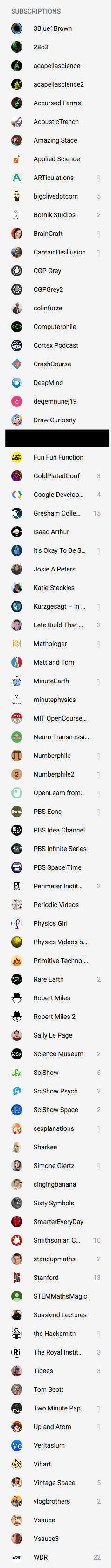 List of my current YouTube subscriptions. It's very long.